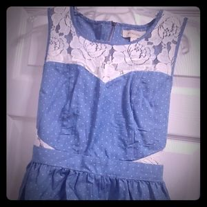 Monteau Vintage Inspired Denim Chambray Lace Dress